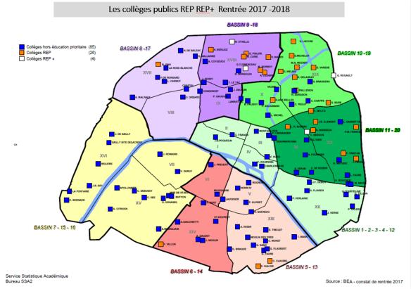 Carte collèges publics REP REP+ Rentrée 2017 -2018